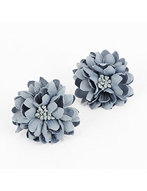 Elegant Grey-blue Earrings In Shape Of Flor With Pistil