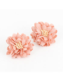 Elegant Pink Earrings In Shape Of Flor With Pistil