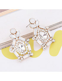 Elegant White Geometric Shape Diamond Decorated Simple Earrings