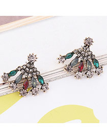 Bohemia Multi-color Geometric Shape Diamond Decorated Simle Earrings