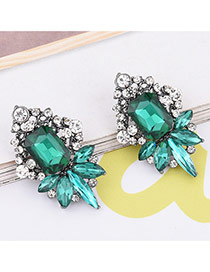 Elagent Green Geometric Shape Diamond Decorated Simle Earrings