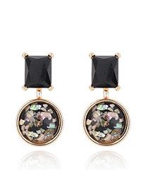 Vintage Black Geometric Shape Diamond Decorated Simle Earrings