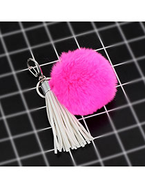 Cute Plum Red Hot Selling Key Chain Decorated With Tassel