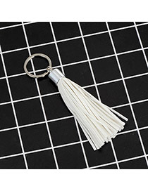 Fashion White Key Chain Of Pure Color Decorated With Tassel