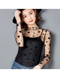 Sexy Black Star Shape Decorated Hollow Out Long Sleeve Smock