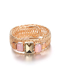 Vintage Pink Square Shape Diamind Decorated Simple Bracelet