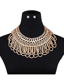 Elagent Gold Color Pure Color Decorated Hollow Out Short Chain Jewelry Sets