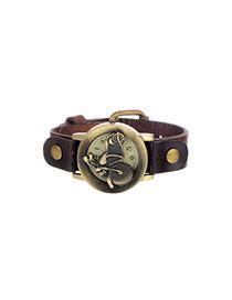 Personality Dark Coffee Metal Motorcycle Shape Decorated Simple Wrist Watch
