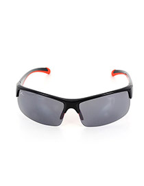 Fashion Black+red Color-matching Decorated Simple Square Shape Sunglasses
