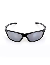 Personality Black Pure Color Decorated Simple Square Shape Sunglasses