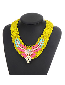 Bohemia Yellow Oval Shape Gemstone Decorated Simple Hand-woven Jewelry Sets