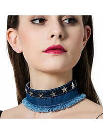 Vintage Blue Metal Star Decorated Simple Wide Choker