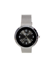 Fashion Black Color Matching Decorated Round Dail Shape Watch