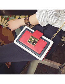 Personality Red Color-matching Decorated Simple Long Chain Bag