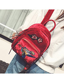 Vintage Red Patch Decorated Pure Color Design Simple Backpack
