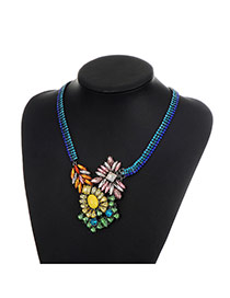 Fashion Multi-color Geometric Shape Diamond Decorated Color Matching Necklace