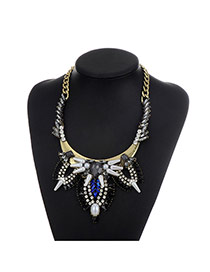 Fashion Black Water Drop Shape Diamond Decorated Color Matching Necklace