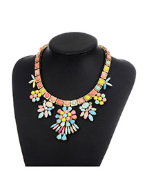 Fashion Multi-color Flower Pendant Decorated Color Matching Simple Necklace