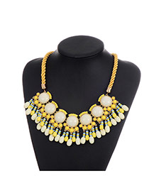 Fashion Yellow Beads Decorated Tassel Design Color Matching Necklace