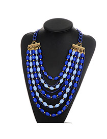 Fashion Sapphire Blue Beads Decorated Multi-layer Color Matching Necklace