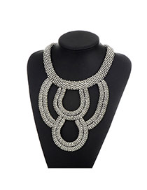 Fashion Silver Color Pure Color Decorated Hollow Out Design Necklace