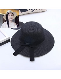 Fashion Black Bowknot Decorated Simple Pure Color Hat