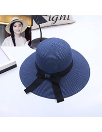 Fashion Blue Bowknot Decorated Simple Pure Color Hat