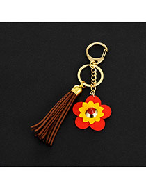 Lovely Coffee Flower&tassel Decorated Simple Key Ring