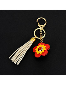 Lovely Beige Flower&tassel Decorated Simple Key Ring