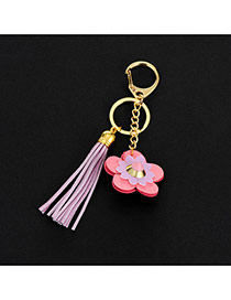 Lovely Purple Flower&tassel Decorated Simple Key Ring