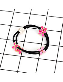 Fashion Plum Red Flowers Decorated Color Matching Hair Band
