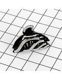Fashion Black Square Shape Diamond Hollow Out Arc Shape Hair Claw