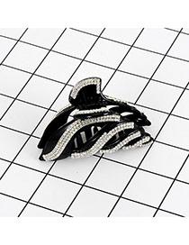 Fashion Black Square Shape Diamond Hollow Out Arc Shape Hair Claw