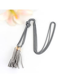 Bohemia Gray Double Layer Tassel Decorated Simple Long Chain Necklace