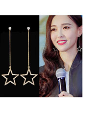 Fashion Gold Color Star Shape Pendant Decorated Simple Long Chain Earrings