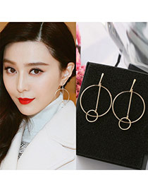 Fashion Gold Color Double Circular Rings Decorated Pure Color Earrings