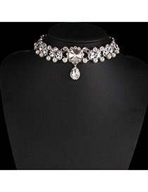 Fashion Silver Color Pearls&diamond Decorated Hollow Out Design Choker