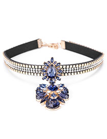 Fashion Blue Water Drop Shape Diamond Decorated Flower Shape Choker