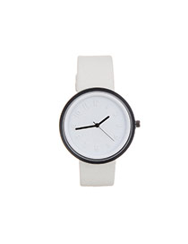 Fashion White Color Matching Decorated Round Dail Design Watch