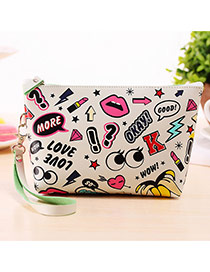 Fashion White Cartoon Pattern Decorated Square Shape Design Waterproof Bag