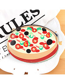 Fashion Red+black Pizza Shape Decorated Color Matching Simple Wallet