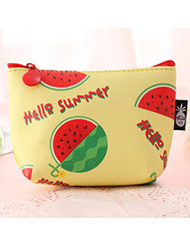 Fashion Yellow Watermelon Pattern Decorated Square Shape Simple Wallet