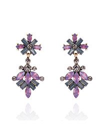 Fashion Multi-color Geometric Shape Diamond Decorated Flower Shape Earrings