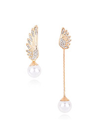 Fashion Gold Color Pearls Decorated Wings Shape Asymmetric Simple Earrings