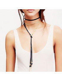Exaggerated Black Long Tassel Pendant Decorated Multi-layer Choker