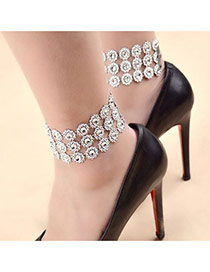 Fashion Silver Color Round Shape Diamond Decorated Multi-layer Anklet