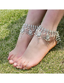Fashion Silver Color Gemstone&pearls Decorated Hollow Out Anklet