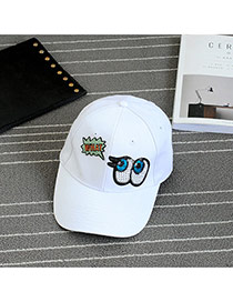 Fashion White Embroidery Eye Pattern Decorated Pure Color Baseball Cap