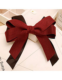 Elegant Claret Red Bowknot Decorated Color Matching Hair Band