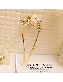 Fashion Gold Color Pearls Decorated U Shape Flower Design Hair Pin